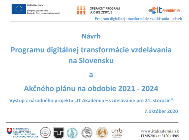 Digitalna transformacia vzdelavania IT AKADEMIA 2020